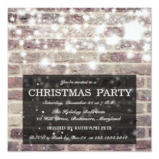 Rustic Brick Wall Christmas Party Shining Stars Card