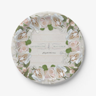 Rustic Bridal Shower Blush Rose Wreath Floral Paper Plate