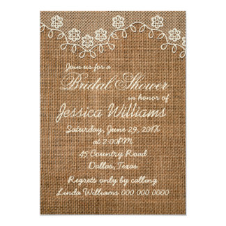 """Rustic Bridal Shower Burlap And Lace 5"""" X 7"""" Invitation Card"""