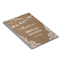 Rustic Bridal Shower Burlap Lights Lace Gift List Notebook