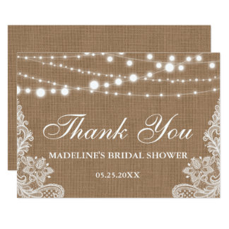 Rustic Bridal Shower Burlap Lights Lace Thank You Card