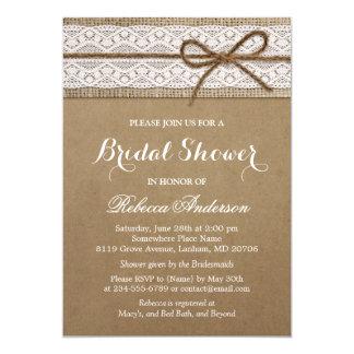 Rustic Bridal Shower Elegant Lace Burlap String Card