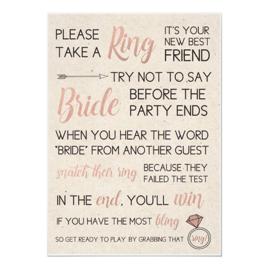 Rustic bridal shower game pick a ring card What to buy for a bridal shower