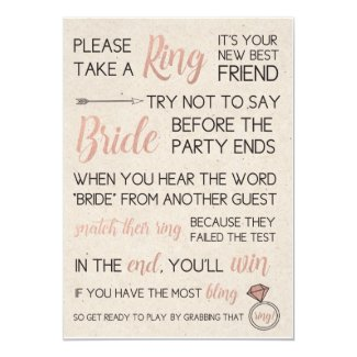 Rustic Bridal Shower Game- Pick a Ring Invitation