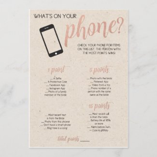 Rustic Bridal Shower Game- Whats in Your Phone