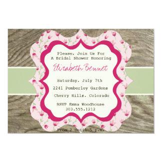 Rustic Bridal Shower Invitation Chintz & Wood Pink