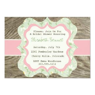 Rustic Bridal Shower Invitation Chintz & Wood Soft