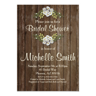 Rustic Bridal Shower Invitation, Daisy, Floral Card