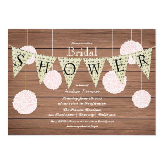 Rustic Bridal Shower Invitation -flags n fluffs