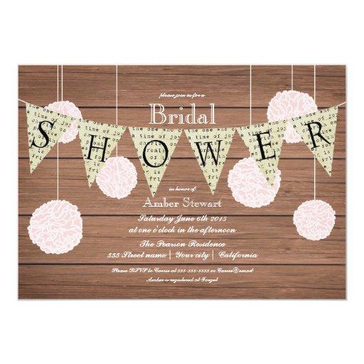 Rustic Bridal Shower Invitation -flags n fluffs