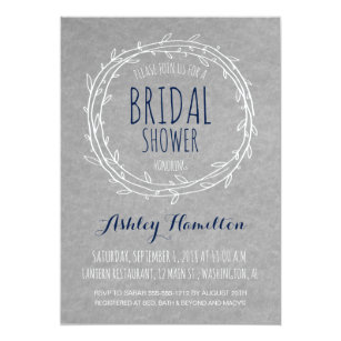 Rustic Bridal Shower Invitation In Gray And Navy