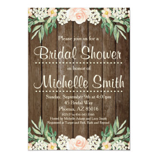 Rustic Bridal Shower Invitation, Lace, Floral Card