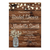 Rustic Bridal Shower Invitation, Mason Jar, Floral Card