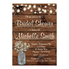 Rustic Bridal Shower Invitation, Mason Jar, Floral Card at Zazzle