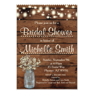 Rustic Bridal Shower Invitation Mason Jar Fl Card