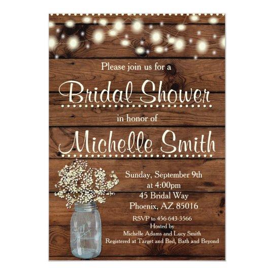 Charmant Rustic Bridal Shower Invitation, Mason Jar, Floral Card