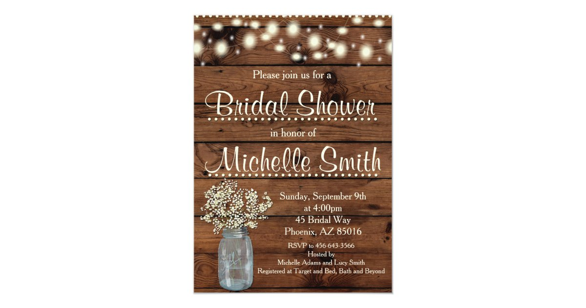 snowflake rustic and bridal winter invitations invitation front wood shower rectangle