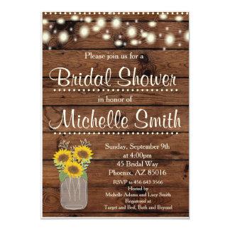 Rustic Bridal Shower Invitation, Mason Jar, Floral Card