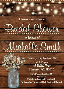 rustic bridal shower invitation mason jar floral invitation