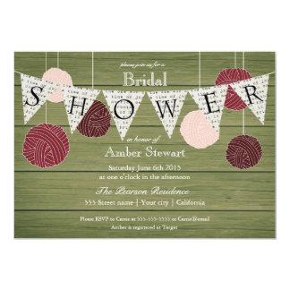 Rustic Bridal Shower Invitation - Yarn Theme