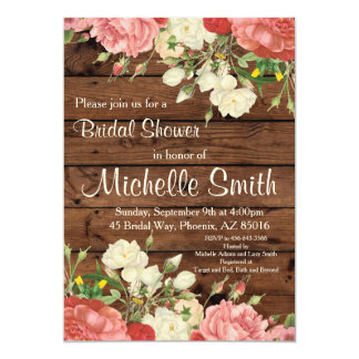 Rustic Bridal Shower Invite, Flower, Floral, Boho Card