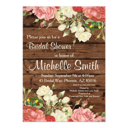 Rustic Bridal Shower Invite, Flower, Floral, Boho Card