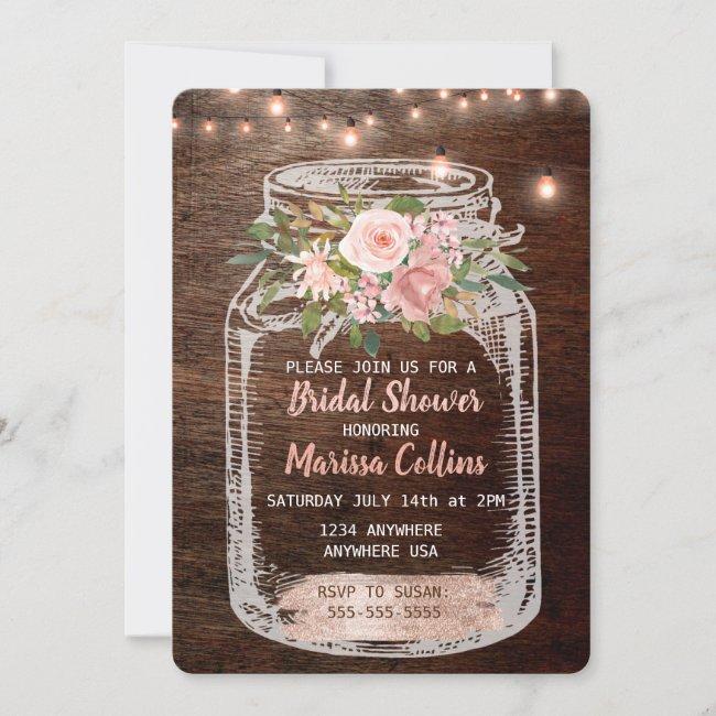 Rustic Bridal Shower, Mason Jar Lights Boho Floral Invitation