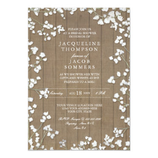 Rustic Bridal Shower Party Baby's Breath Wreath Card