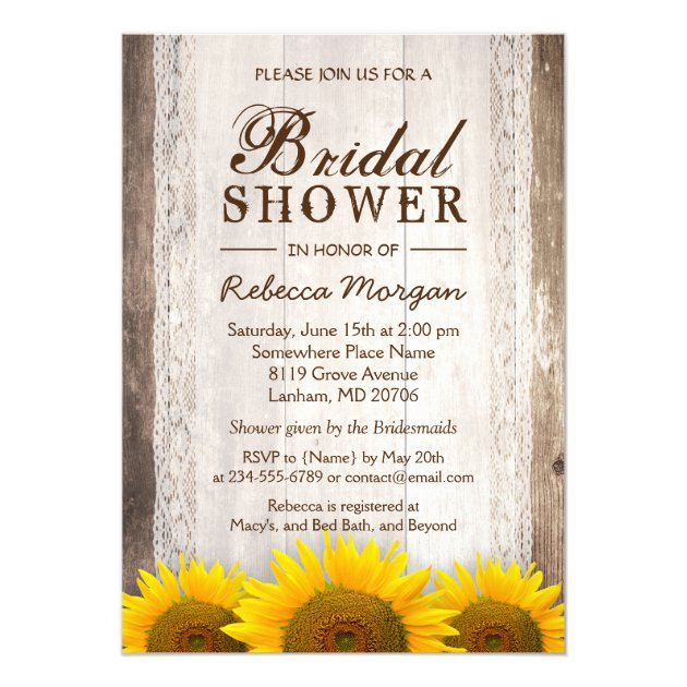 Rustic Bridal Shower Sunflowers Lace Barn Wood 5x7 Paper Invitation Card