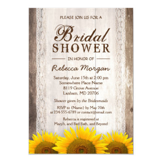 Rustic Bridal Shower Sunflowers Lace Barn Wood Card
