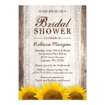 Rustic Bridal Shower Sunflowers Lace Barn Wood Invitation