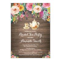Rustic Bridal Shower Tea Party Invitation Floral