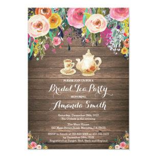 d39d3c8deb77 Rustic Bridal Shower Tea Party Invitation Floral