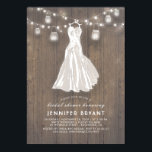 """Rustic Bridal Shower   Wedding Gown and Mason Jars Card<br><div class=""""desc"""">Romantic and rustic bridal shower invitations with old barn wood background,  dreamy string lights,  mason jars,  and white wedding gown. --- All design elements created by Jinaiji</div>"""