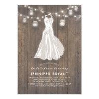 Rustic Bridal Shower | Wedding Gown and Mason Jars Card