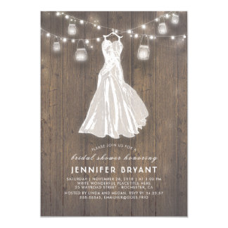 Rustic Bridal Shower | Wedding Gown and Mason Jars Card