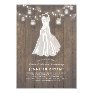 Rustic Bridal Shower | Wedding Gown and Mason Jars Invitation