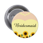Rustic Bridesmaid Sunflowers Wedding Pin Buttons