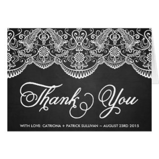Rustic Brocade Lace Wedding Thank You Card