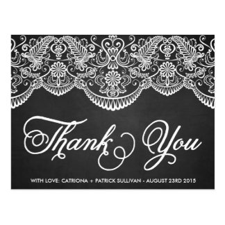 Rustic Brocade Lace Wedding Thank You Postcard