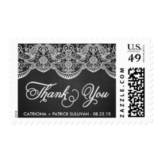 Rustic Brocade Lace Wedding Thank You Sticker Postage