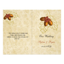 Rustic bronze acorn fall  bi fold Wedding program