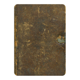 Rustic Brown Aged Leather 1823 Antique Inspired 4.5x6.25 Paper Invitation Card