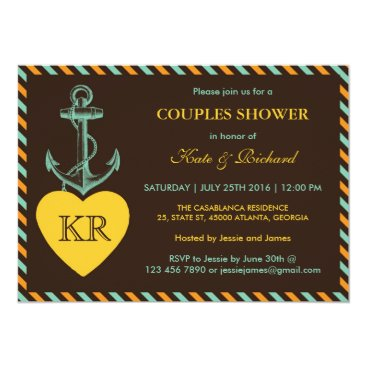 Beach Themed Rustic Brown Anchor Love Couples Shower Invitation