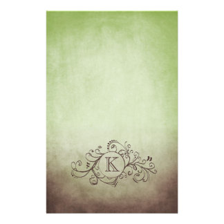Rustic Brown and Green Bohemian  Flourish Stationery