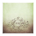Rustic Brown and Green Bohemian Guest Book Canvas Gallery Wrap Canvas