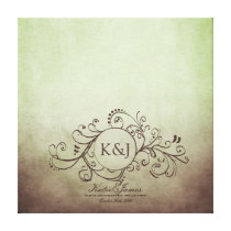 Rustic Brown and Green Bohemian Guest Book Canvas