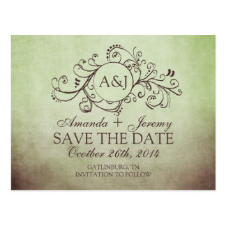 Rustic Brown and Green Bohemian Save The Date Post Card
