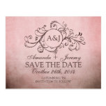 Rustic Brown and Pink Bohemian Save The Date Postcards