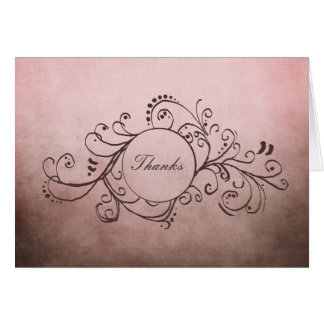 Rustic Brown and Pink Bohemian Thank You Note Card